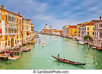 gondola, op, voornaame canal