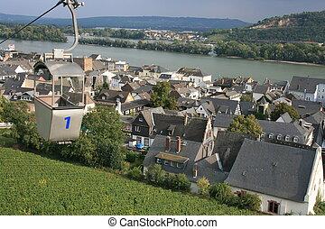 Rudesheim - Gondola over Rudesheim vineyards, Germany.