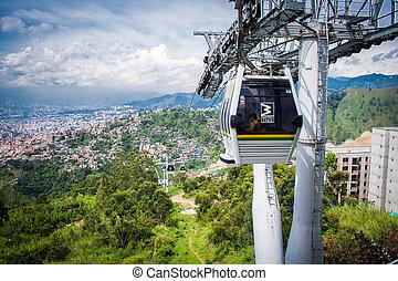 Gondola Ropeway city landscape. Medellin Colombia