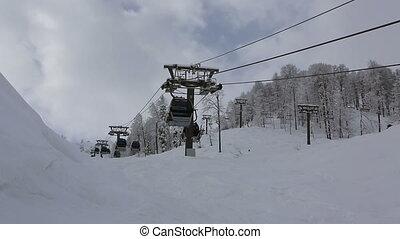 Gondola ski lift in Rosa Khutor Alpine Resort. Time Lapse -...
