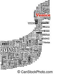 gondola venice - abstract gondola with words venice