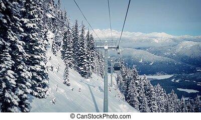 Gondola View Moving Up Mountainside - POV ascending...