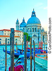 Gondolas and Santa Maria della Salute church in Venice, ...