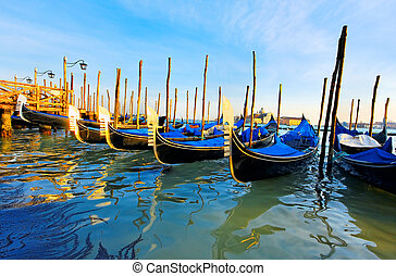 Gondolas at the Piazza San Marco, Venice, Italy