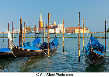 Gondolas at the pier in Venice