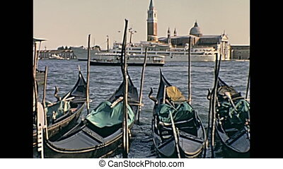 Gondolas boats Venice