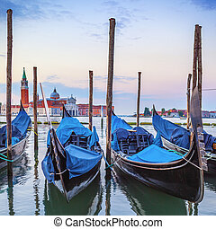 Gondolas in the Grand Canal at sunset