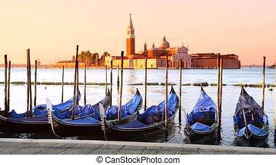 Gondolas in Venezia - Gondolas moored by Saint Mark square...