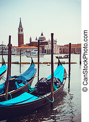 gondolas in Venice, Italy.   Gondolas on Grand Canal