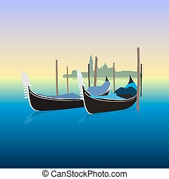 Gondolas in Venice Italy, vector illustration