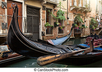 Gondolas in Venice. Close up photo