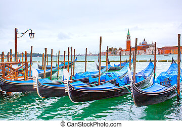 Gondolas near Saint Mark square in Venice