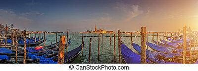 Gondolas on Canal Grande at sunset, San Marco, Venice, Italy