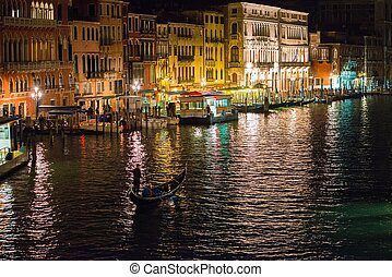 Gondolas on Grand Canal at night