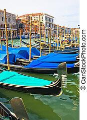 Gondolas on Grand Canal - Gondolas anchored on Grand Canal, ...