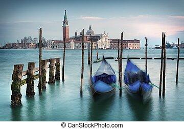 Gondolas on Grand Canal in front of San Giorgio Maggiore -...