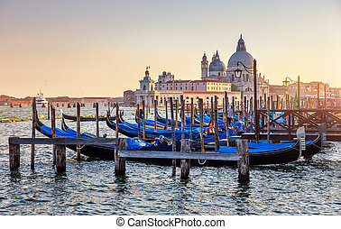 Gondolas on Grand Canal in Venice Italy sunset