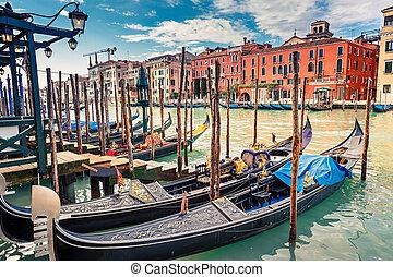 Gondolas on Grand canal in Venice