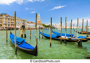 Gondolas on Grand Canal in Venice