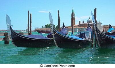 Gondolas on the berth in Venice, Italy.