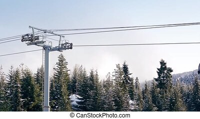 Gondolas with skis attached passing over forest in the snow