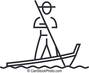 gondola,venice vector line icon, sign, illustration on background, editable strokes