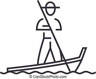 gondola,venice vector line icon, sign, illustration on background, editable strokes