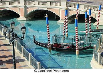 gondole, dans, a, canal, vénitien, recourir hôtel, et, casino, las vegas