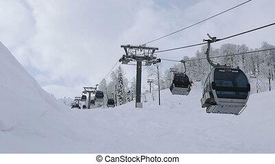 gondole, khutor, rosa, recours, ascenseur, ski, alpin