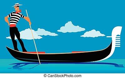 Gondolier - Cartoon gondolier rowing a gondola, EPS 8 vector...