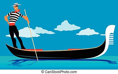Gondolier - Cartoon gondolier rowing a gondola, EPS 8 vector...