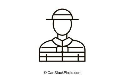 Gondolier Human Icon Animation. black Gondolier Human animated icon on white background