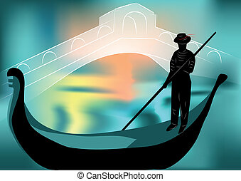 gondolier in the evening city