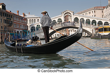 Grand Canal, Venice - Gondolier, Rialto Bridge, Grand Canal,...