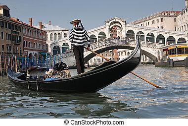 Grand Canal, Venice - Gondolier, Rialto Bridge, Grand Canal...