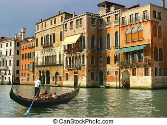 gondoliere, in, venezia