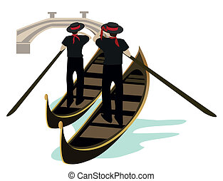 Gondoliers of Venice - Venice canal view with two gondoliers...