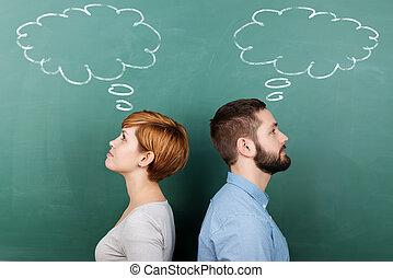 gondolkodás, professors, buborék, chalkboard