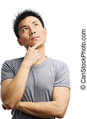 gondolkodó, ázsiai, fiatalember