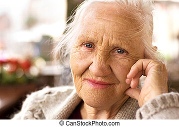 gondolkodó, öregedő woman