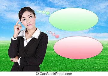 gondolkodó, ügy woman, noha, sok, gondolat, alatt, üres, buborék
