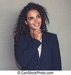 gondolkodó, üzletasszony, amerikai, latin, portré