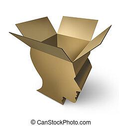 gondolkodó, doboz, ki