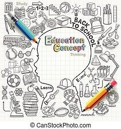 gondolkodó, doodles, fogalom, oktatás
