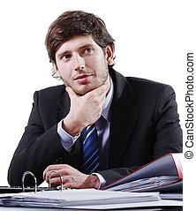 gondolkodó, fiatal, üzletember