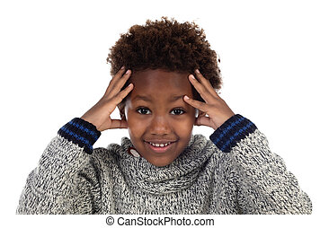 gondolkodó, imádnivaló, afroamerican, gyermek