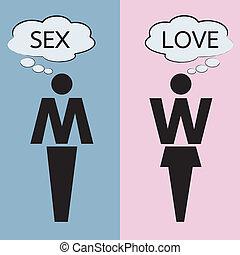gondolkodó, körülbelül, szeret, szex