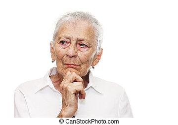 gondolkodó, portré, senior woman