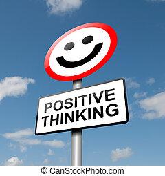 gondolkodó, pozitív, concept.