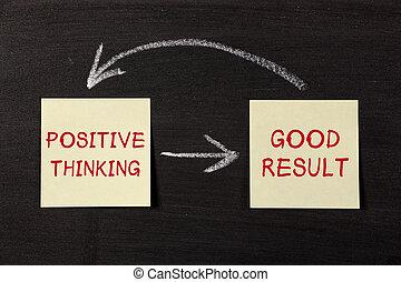 gondolkodó, pozitív, jó, eredmény